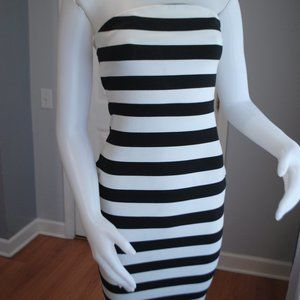Express - Black & White Striped Dress with front z